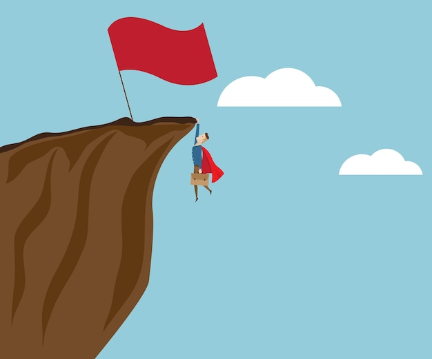 大きな赤い旗で崖で登る実業家