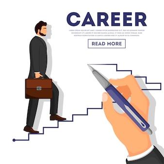 Businessman climbing career ladder poster
