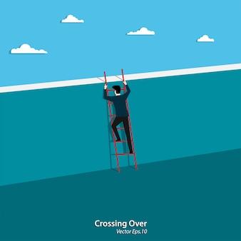 Businessman climbing ladder crossing the wall