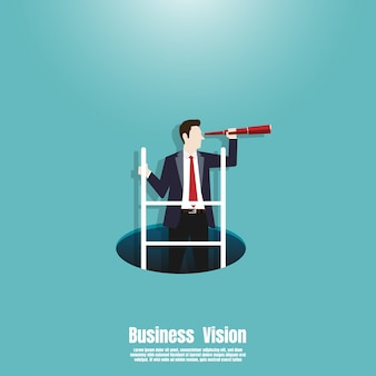 Businessman climbing ladder from the hole