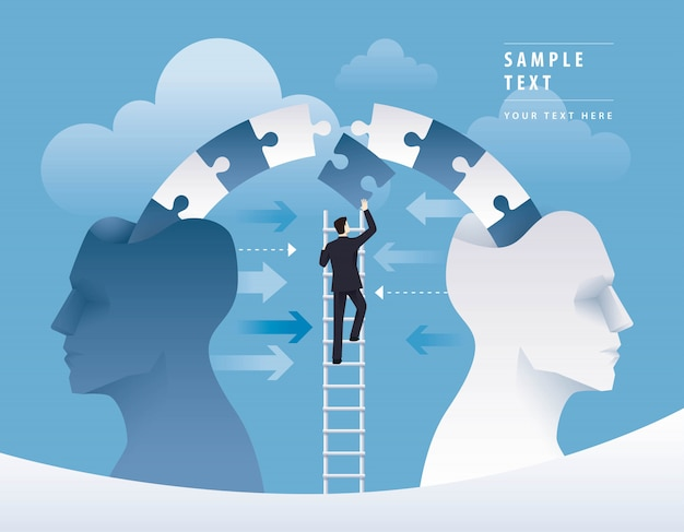Businessman climbing ladder to pushing jigsaw puzzle