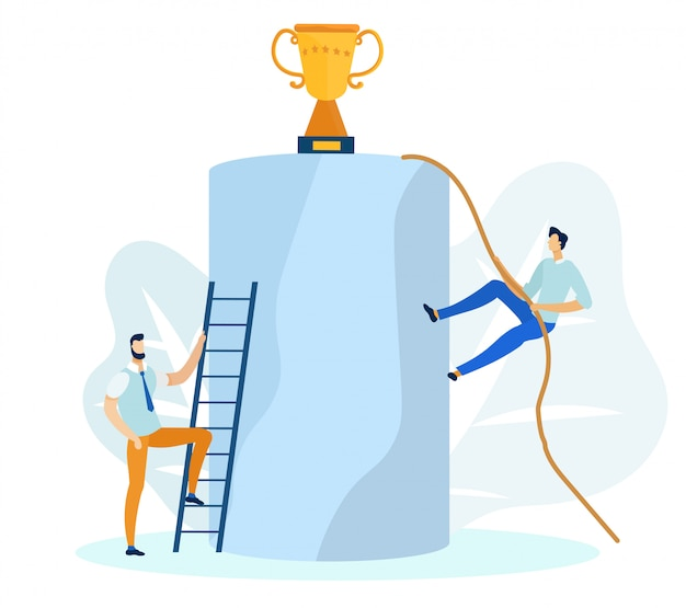Businessman climbing ladder and rope to get cup.