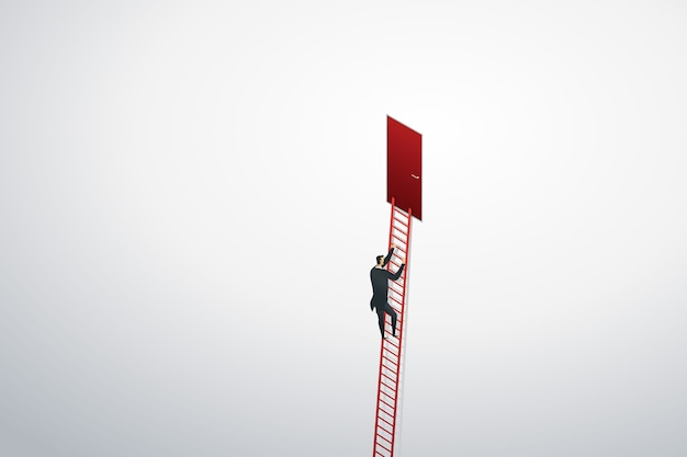 Businessman climbing ladder up to red door on wall to goal success.