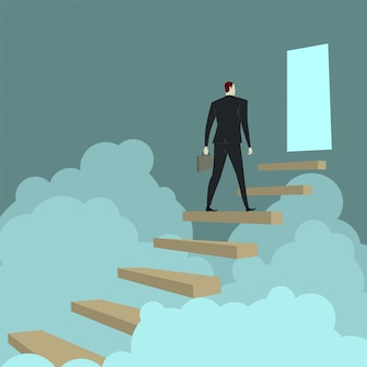 Businessman climbing ladders above cloud