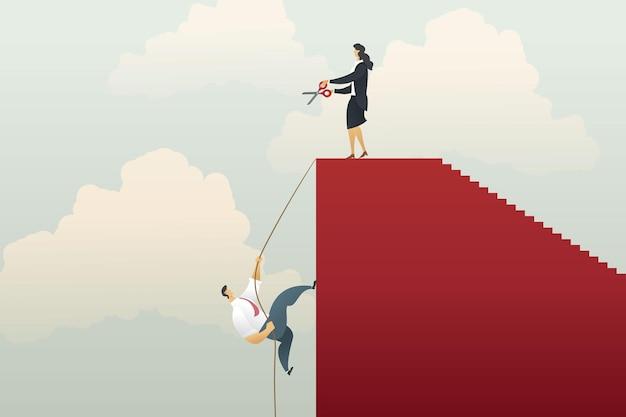 Бизнесмен, восхождение на красный график с веревкой и ножницы бизнес-леди, режущие веревку