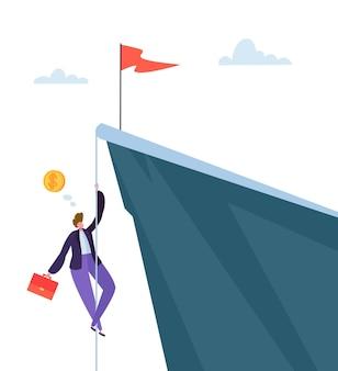 산의 정상에 등반하는 사업가. 정상을 얻으려고 노력하는 비즈니스 캐릭터. 목표 달성, 리더십, 동기 부여 개념.