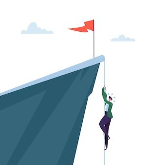 山のピックに登るビジネスマン。トップを獲得しようとしているビジネスキャラクター。目標の達成、リーダーシップ、モチベーションの概念。