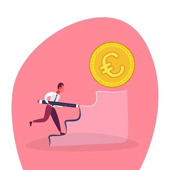 Businessman climbing podium to money