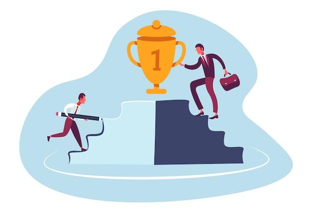 Businessman climbing podium to trophy