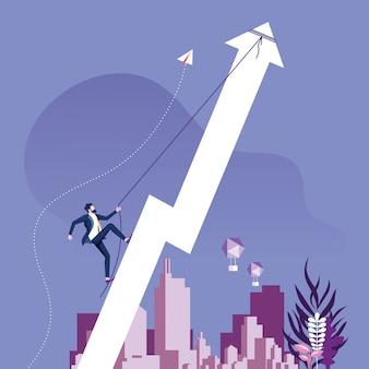 Businessman climbing rising arrow. success concept.