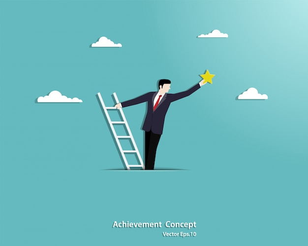 Businessman climbing a stair ladder on the clouds and reaching for the stars