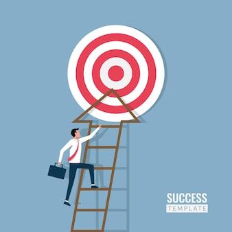 그림을 대상으로 계단을 오르는 사업가. 성공, 도전, 경력 및 리더십 개념.