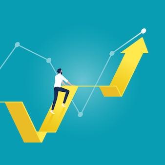 成長矢印グラフを登るビジネスマン