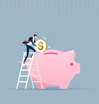 Businessman climbing up on a ladder and putting money into a big piggy bank