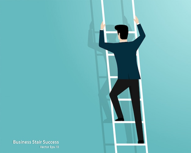 Businessman climbing up stairs to top of target
