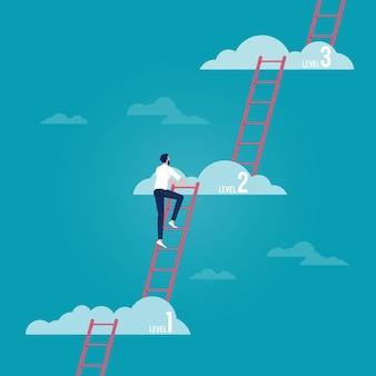 Бизнесмен поднимается по карьерной лестнице на более высокий уровень