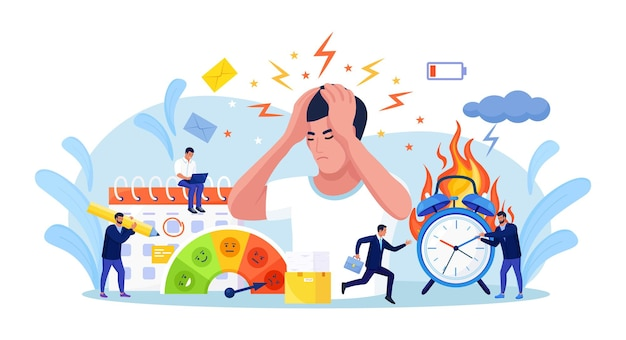 Businessman clutched his head in panic. people feeling stress at work. exhausted, frustrated, stressing worker, burnout.  employee working overtime at deadline. alarm in fire, burning clock