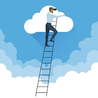 Businessman in the cluuds on ladder reaching star in the sky