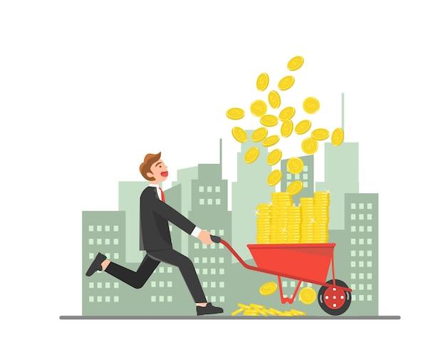 Businessman collecting coins with wheelbarrow
