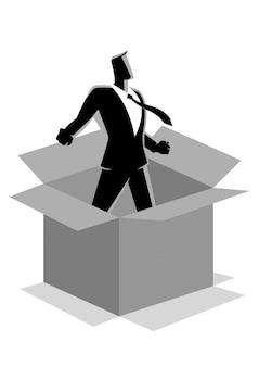 Businessman comes out of the box