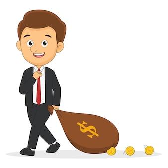 Бизнесмен идет с мешком денег долларов