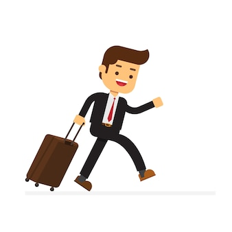 Businessman comes with a suitcase for traveling