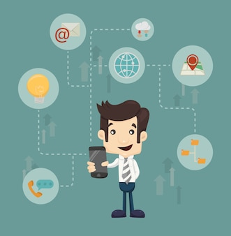 Businessman communication technology