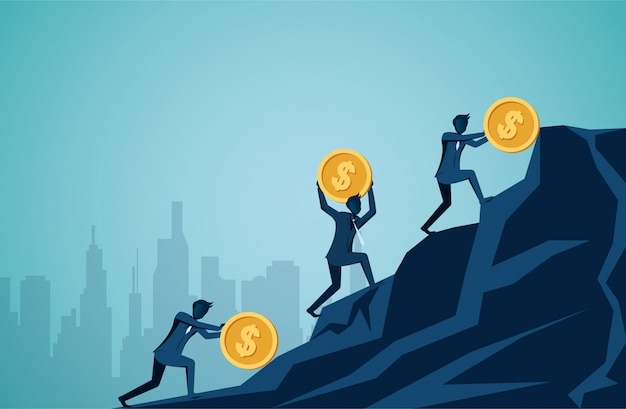 Businessman competing rolling and push icon dollar coin uphill on the mountain to the goal of success