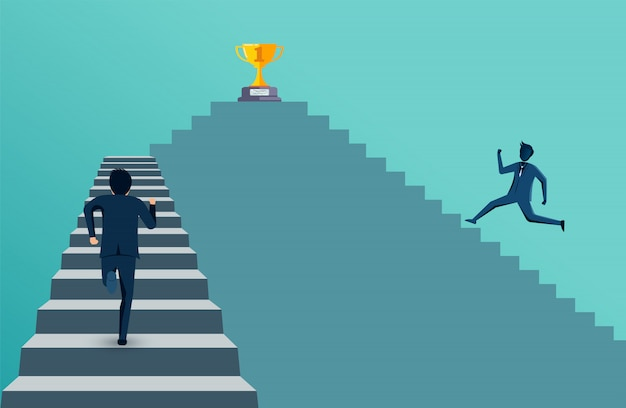 Businessman competing run up on staircase go to trophy goal.