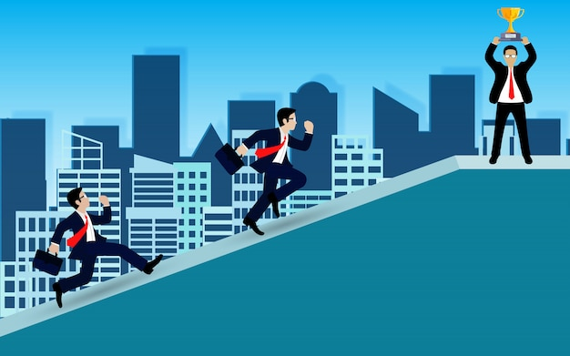 Businessman competition running on up the slope go to the goal