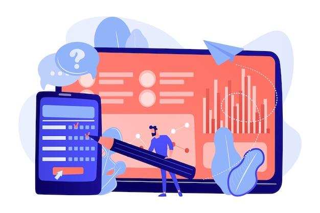 スマートフォンの画面でオンライン調査フォームに記入するビジネスマン。オンライン調査、インターネットアンケートフォーム、マーケティングリサーチツールの概念図