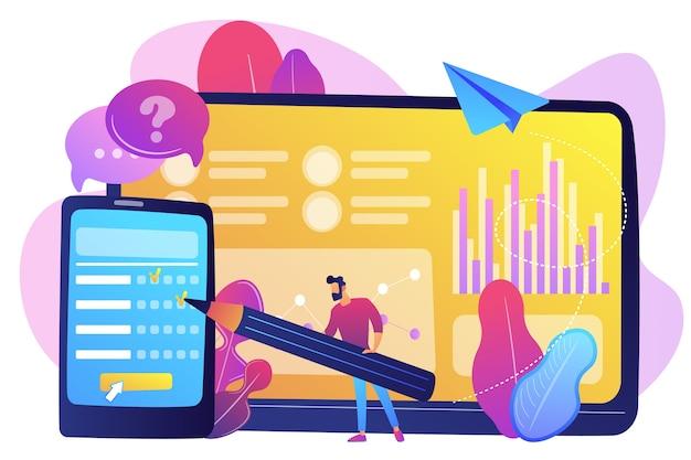スマートフォンの画面でオンライン調査フォームに記入するビジネスマン。オンライン調査、インターネットアンケートフォーム、マーケティングリサーチツールのコンセプト。