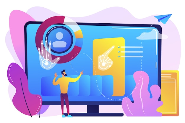 Businessman and computer recognising and interpreting human gesures as commands. gesture recognition, gestures commands, hands-free control concept. bright vibrant violet  isolated illustration