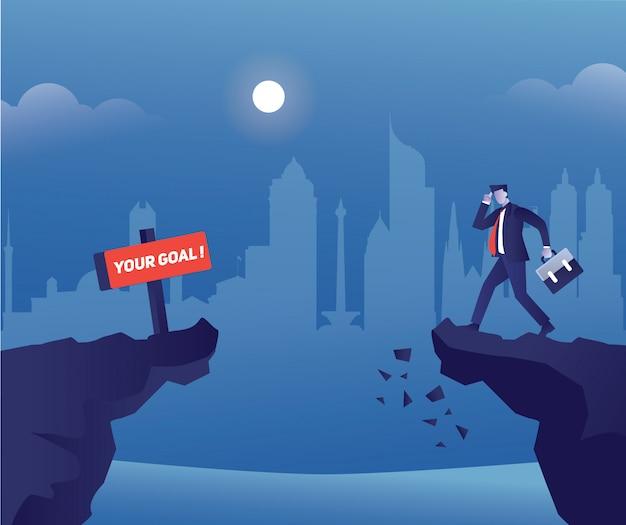 Иллюстрация концепции бизнесмена сбивает с толку, чтобы достичь цели прогулкой по скале