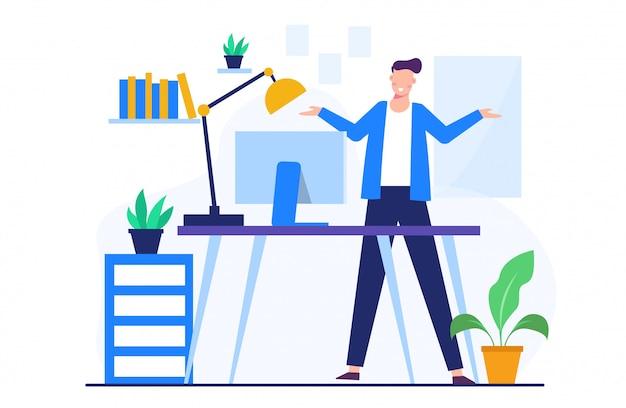 ランディングページテンプレートのビジネスマンの概念図