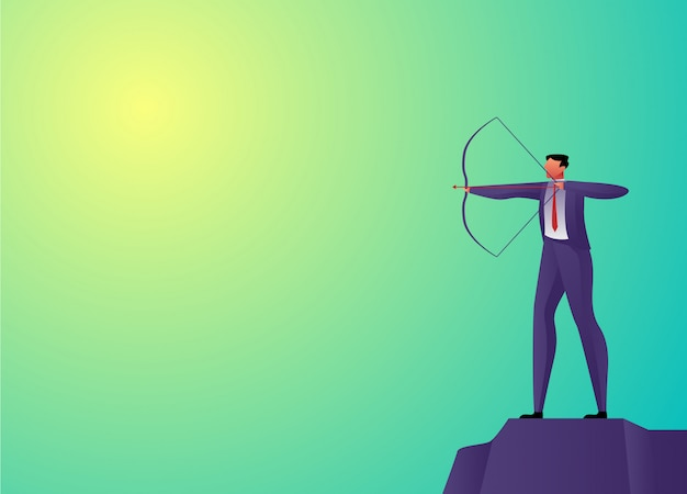 Businessman concept shooting arrow vector illustration
