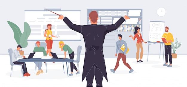 Бизнесмен дирижер управляет метафорой офисной работы