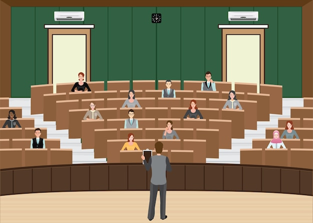 Businessman conference or presentation at audience conference hall