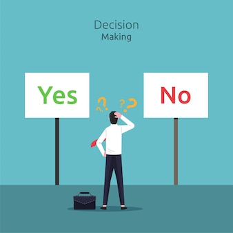 예 또는 아니오 그림 사이의 결정을 혼란 사업가.