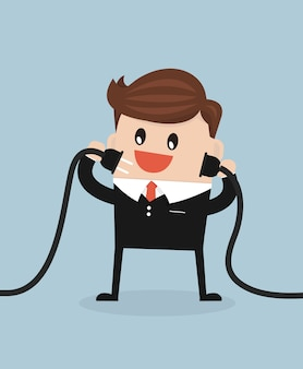 Businessman connecting a power cord flat design