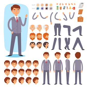 Businessman constructor  creation of male character with manlike head and face emotions illustration set of mans body with hands legs  on white background