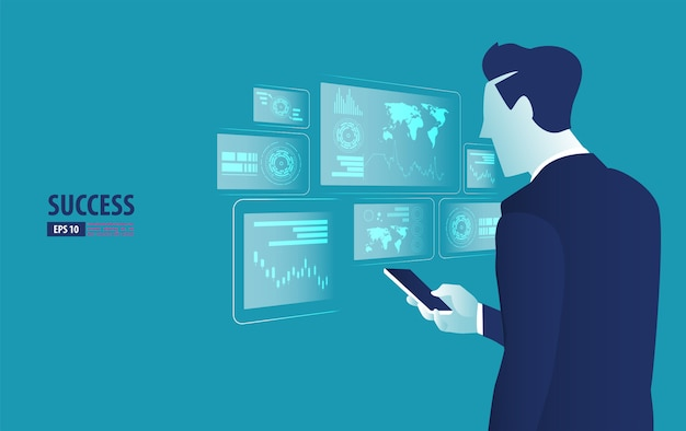 Бизнесмен, управляющий футуристическим интерфейсом голограммы со смартфоном
