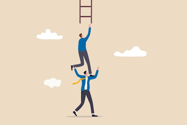 Businessman coworker support his colleague reaching to climb ladder of success.