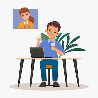 ビジネスマンコワーキングスペース会議コミュニケーションインフォグラフィック背景フラットデザイン