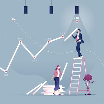 Businessman creating stock chart