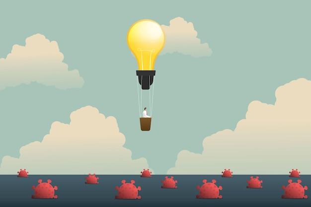 Креативность бизнесмена на воздушных шарах лампочки, плавающих над морем, коронавирус