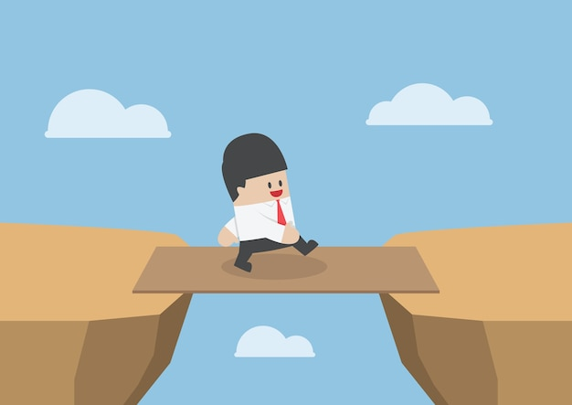 Businessman cross the cliff gap by wooden board as a bridge