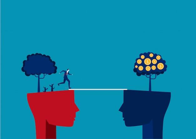 大きな頭の挑戦の概念に行くために橋を渡る実業家
