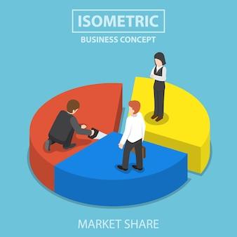 ビジネスマンはのこぎりでグラフのパイをカットし、同僚、市場シェアの概念を共有