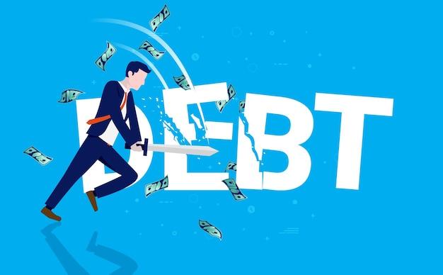 Бизнесмен режет слово долг мечом, пока деньги падают